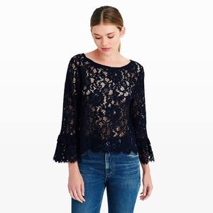 CLUB MONACO navy lace top, tiered sleeve